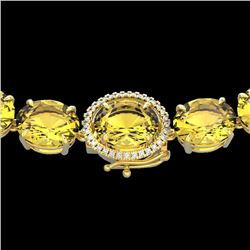 175 CTW Citrine & VS/SI Diamond Halo Micro Solitaire Necklace 14K Yellow Gold - REF-535K5W - 22293