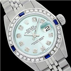 Rolex Men's Stainless Steel, QuickSet, Diam Dial & Diam/Sapphire Bezel - REF-521W3H