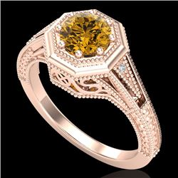 0.84 CTW Intense Fancy Yellow Diamond Engagement Art Deco Ring 18K Rose Gold - REF-161M8H - 37932