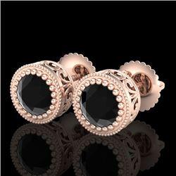 1.09 CTW Fancy Black Diamond Solitaire Art Deco Stud Earrings 18K Rose Gold - REF-50A2X - 37479