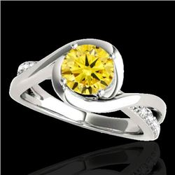 1.15 CTW Certified Si/I Fancy Intense Yellow Diamond Solitaire Ring 10K White Gold - REF-163F6N - 34
