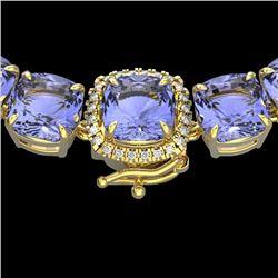100 CTW Tanzanite & VS/SI Diamond Halo Micro Necklace 14K Yellow Gold - REF-1345X3T - 23363