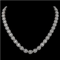 28.74 CTW Pear Diamond Designer Necklace 18K White Gold - REF-5269W3F - 42641
