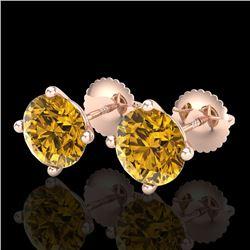 3.01 CTW Intense Fancy Yellow Diamond Art Deco Stud Earrings 18K Rose Gold - REF-472N8Y - 38261
