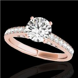 1.5 CTW H-SI/I Certified Diamond Solitaire Ring 10K Rose Gold - REF-245X5T - 34863