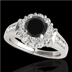 1.9 CTW Certified VS Black Diamond Solitaire Halo Ring 10K White Gold - REF-96X2T - 34295
