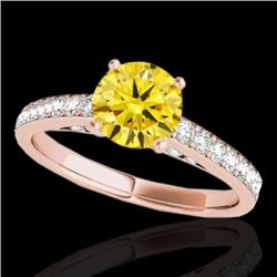 1.5 CTW Certified Si/I Fancy Intense Yellow Diamond Solitaire Ring 10K Rose Gold - REF-245W5F - 3487