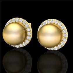 0.50 CTW Micro Pave Halo VS/SI Diamond & Golden Pearl Earrings 18K Yellow Gold - REF-61W3F - 21495