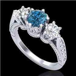 2.18 CTW Intense Blue Diamond Solitaire Art Deco 3 Stone Ring 18K White Gold - REF-254H5A - 38111