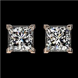 2 CTW Certified VS/SI Quality Princess Diamond Stud Earrings 10K Rose Gold - REF-585X2T - 33095