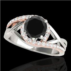 1.3 CTW Certified VS Black Diamond Bypass Solitaire Ring 10K White & Rose Gold - REF-69T5M - 35082