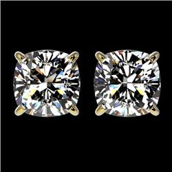 2 CTW Certified VS/SI Quality Cushion Cut Diamond Stud Earrings 10K Yellow Gold - REF-585T2M - 33099