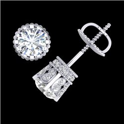 3 CTW VS/SI Diamond Solitaire Art Deco Stud Earrings 18K White Gold - REF-584A3X - 36836