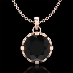 1.5 CTW Fancy Black Diamond Solitaire Art Deco Stud Necklace 18K Rose Gold - REF-89W3F - 37381