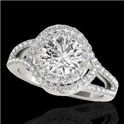 2.15 CTW H-SI/I Certified Diamond Solitaire Halo Ring 10K White Gold - REF-343A6X - 34396