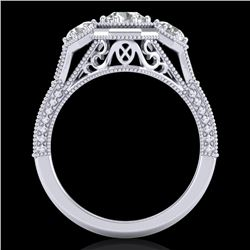 1.05 CTW VS/SI Diamond Solitaire Art Deco 3 Stone Ring 18K White Gold - REF-200X2T - 37100