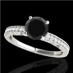 1.18 CTW Certified VS Black Diamond Solitaire Antique Ring 10K White Gold - REF-49X8T - 34606