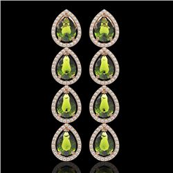 10.48 CTW Tourmaline & Diamond Halo Earrings 10K Rose Gold - REF-195N6Y - 41304