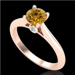 0.83 CTW Intense Fancy Yellow Diamond Engagement Art Deco Ring 18K Rose Gold - REF-145T5M - 38198