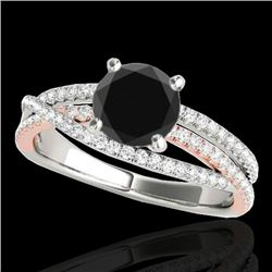 1.4 CTW Certified VS Black Diamond Solitaire Ring 10K White & Rose Gold - REF-73Y6K - 35544