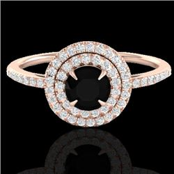 1 CTW Micro Pave VS/SI Diamond Solitaire Ring Double Halo 14K Rose Gold - REF-63N5Y - 21608
