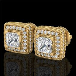 2.01 CTW Princess VS/SI Diamond Art Deco Stud Earrings 18K Yellow Gold - REF-245N5Y - 37129