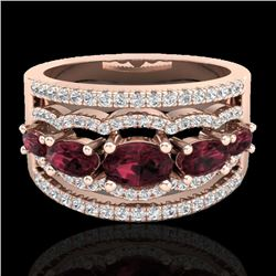 2.25 CTW Garnet & Micro Pave VS/SI Diamond Designer Ring 10K Rose Gold - REF-69W3F - 21037