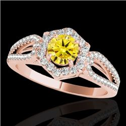 1.43 CTW Certified Si/I Fancy Intense Yellow Diamond Solitaire Halo Ring 10K Rose Gold - REF-176H4A