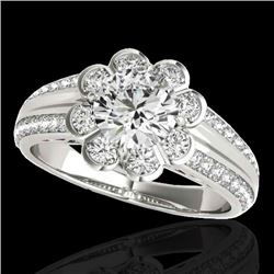 2.05 CTW H-SI/I Certified Diamond Solitaire Halo Ring 10K White Gold - REF-363N5Y - 34477
