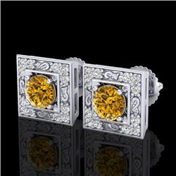 1.63 CTW Intense Fancy Yellow Diamond Art Deco Stud Earrings 18K White Gold - REF-176A4X - 38162