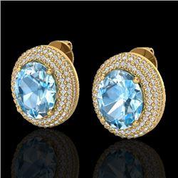 10 CTW Sky Blue Topaz & Micro Pave VS/SI Diamond Earrings 18K Yellow Gold - REF-152T4M - 20219