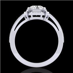 1 CTW VS/SI Diamond Solitaire Art Deco Ring 18K White Gold - REF-318M3H - 36872