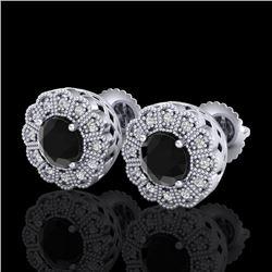1.32 CTW Fancy Black Diamond Solitaire Art Deco Stud Earrings 18K White Gold - REF-100T2M - 37835