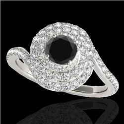 1.86 CTW Certified VS Black Diamond Solitaire Halo Ring 10K White Gold - REF-89Y3K - 34507