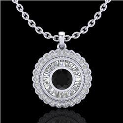2.11 CTW Fancy Black Diamond Solitaire Art Deco Stud Necklace 18K White Gold - REF-180X2T - 37912