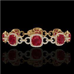 25 CTW Ruby & Micro VS/SI Diamond Bracelet 14K Yellow Gold - REF-457A3X - 23029