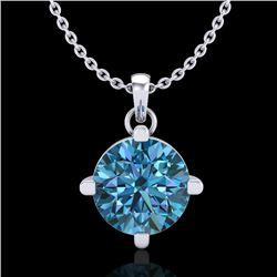 1 CTW Intense Blue Diamond Solitaire Art Deco Stud Necklace 18K White Gold - REF-154F5N - 38076