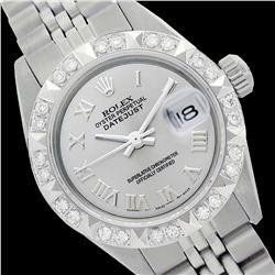 Rolex Men's Stainless Steel, QuickSet, Roman Dial with Pyrimid Diam Bezel  - REF-509Y7X