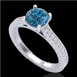 1.45 CTW Fancy Intense Blue Diamond Solitaire Art Deco Ring 18K White Gold - REF-209H3A - 37754