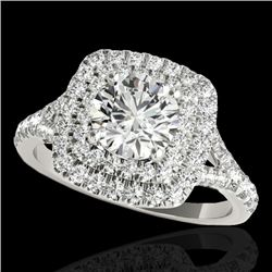 1.6 CTW H-SI/I Certified Diamond Solitaire Halo Ring 10K White Gold - REF-216X4T - 33358