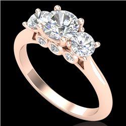 1.5 CTW VS/SI Diamond Solitaire Art Deco 3 Stone Ring 18K Rose Gold - REF-272W8F - 37314