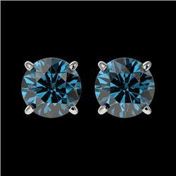 1.55 CTW Certified Intense Blue SI Diamond Solitaire Stud Earrings 10K White Gold - REF-127K5W - 366