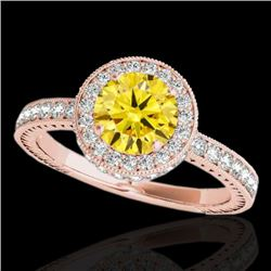 1.51 CTW Certified Si/I Fancy Intense Yellow Diamond Solitaire Halo Ring 10K Rose Gold - REF-180W2F