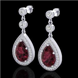 4.50 CTW Garnet & Micro Pave VS/SI Diamond Earrings Designer 18K White Gold - REF-66Y8K - 23117