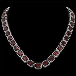 73.44 CTW Garnet & Diamond Halo Necklace 10K White Gold - REF-696K2W - 41519