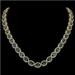 55.41 CTW London Topaz & Diamond Halo Necklace 10K Yellow Gold - REF-576M2H - 40591