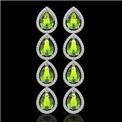 8.4 CTW Peridot & Diamond Halo Earrings 10K White Gold - REF-172H2A - 41309