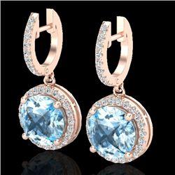 5.50 CTW Sky Blue Topaz & Micro Pave VS/SI Diamond Designer Halo 14K Rose Gold - REF-70A9X - 23187