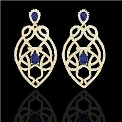7 CTW Tanzanite & Micro Pave VS/SI Diamond Earrings Designer 14K Yellow Gold - REF-381K8W - 21144