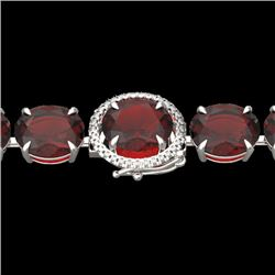 65 CTW Garnet & Micro Pave VS/SI Diamond Halo Designer Bracelet 14K White Gold - REF-233H3A - 22260